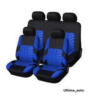 9 PCS FULL SET BLUE-BLACK FABRIC CAR SEAT COVERS FOR FORD RANGER 2012+