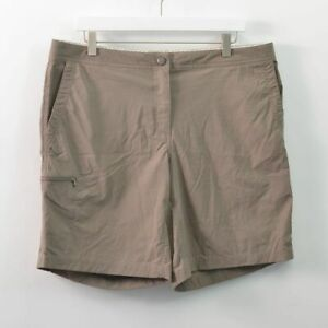 LL Bean Nylon Stretch Hiking Shorts Brown Comfort Waist Womens 14