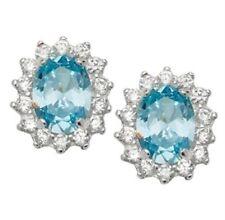 Pendientes de joyería con gemas de plata de ley aguamarina