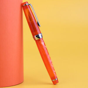 (New Moon 2 ) Celluloid Fountain Pen , Orange Acrylic Gift Pen