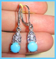 Sleeping Beauty Turquoise /Tanzanite Drop Leverback Earrings Sterling Silver 925