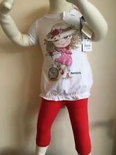 MONNALISA 2 un. Perla Bebé Niña Blusa túnica con leggings a juego 12 M 150 £