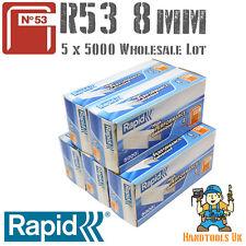 5 x 5000 Rapid R53 Series 8mm Galvanised Steel Staples  for WHOLESALE