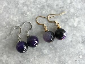 Faceted Purple Agate Semi Precious Stone Dangle Hook Earrings