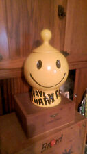 VINTAGE -  HAVE A HAPPY DAY COOKIE JAR - MCCOY POTTERY  YELLOW SMILEY FACE EMOJI
