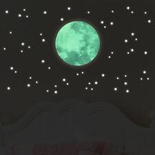 Wandkings fluoreszierende Leuchtaufkleber Mond im Set mit Sternen Sternenhimmel