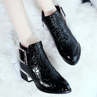 Retro Womens Patent Leather Ankle Boots Pointed Toe Side Zip Block Heel Oxfords