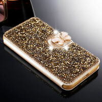 Leather Bling Crystal Diamond Flip Stand Wallet Case Cover For iPhone/Samsung S
