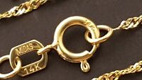 """14 k Solid Yellow Gold  1.3 mm Singapore Chain Necklace 16"""", 18"""", 20""""."""