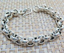 "New Pure S925 Silver 10mmW Perfect Rolo Link Chain Man's Lucky Bracelet / 7.9""L"