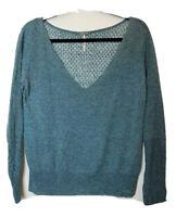 Free People Beach Women's Teal Green Gauzy V-neck Long Sleeve Knit Top Crochet M