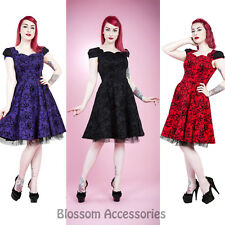 RKH52 Hearts & Roses Flocked Pin Up Party Rockabilly Dress 50's Vintage Swing