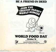 1986 small Print Ad of World Food Day October 16 Ziggy Comic Be a Friend In Deed