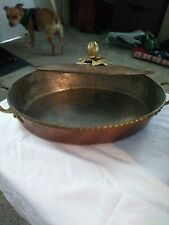 Ruffoni Copper Cookware/Gratin Pan with Brass Handles & Finial Vintage