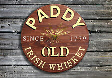 Paddy Old Irish Whiskey Barrel End Wooden Pub Sign Hand Made in Ireland - Wiskey