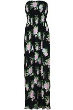 Womens Strapless Floral Maxi Dress Ladies Long Sheering Boob tube Bandeau 8-24