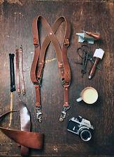 Double caméra harnais multicaméra bandoulière en cuir caméra harnais marron