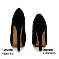 Womens Pumps High Heels Crossdresser Casual Drag Queen Black Red Suede Shoes Big