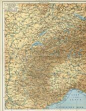 Physische Karte WESTALPEN / SCHWEIZ / SAVOYEN 1895 Original-Graphik
