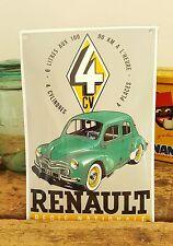 Plaque bombée émaillée Renault 4CV Régie Nationale 4 cylindres 4 places 20x30cm