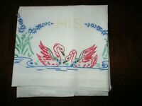 """vintage embroidered Swan with """"His"""" standard  pillow case"""