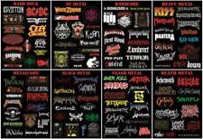 119x METAL BANDS LOGO in verschiedenen Genre Aufkleber/Sticker, acht Bögen Set!!