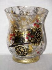 PINE CONE GOLD CRACKLE GLASS HURRICANE CANDLE HOLDER NWTS