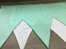 MINT GREEN/WHITE '7 PEAK' SIZE PELMET+READY TO HANG+MADE IN SCOTLAND+UNIQUE+FAB+