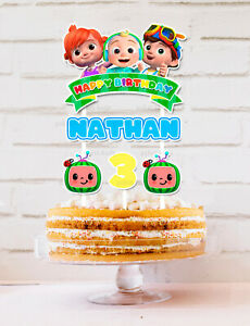 Cocomelon Cake Topper Personalised *STURDY* Kids Birthday Party Decorations