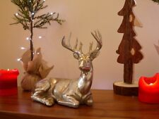Silver Resin Laying Stag / Deer / Reindeer Christmas Decoration