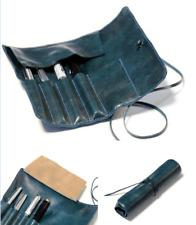 fountain pen bag pencil cow Leather Customize holder handmade case blue Z083
