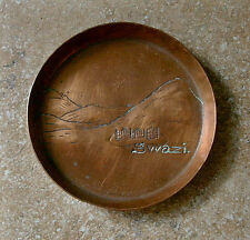 Vintage COPPER Hand-Made Coaster SWAZI Swaziland MOUNTAINS