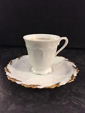 1 Moccatasse Espressotasse Giraud Limoges Tasse Untertasse Porzellan weiß gold