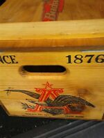 Budweiser Wood Beer Wooden Crate Box Hinged Lid Anheuser-Busch Since 1876