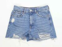 Womens H&M Blue Distressed Denim Shorts Size 10/L2