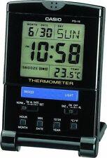 Casio Travel Alarm Clock, 12/24 Hour Format, Snooze, Light, Thermometer, PQ15-1K