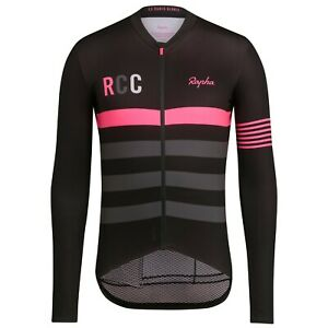NEW Rapha RCC Men's Cycling Jersey S Pro Team Long Sleeve Midweight Black Pink