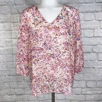 Ann Taylor Small Petite Blouse Sheer Pink SP