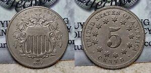1867 No Rays Type 2 Shield Nickel 5c AU