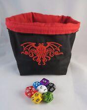 Cthulhu Negro y Rojo Cuadrado Dado Bolsa-Reversible Con Cordón azulejo bolsa RPG D&D