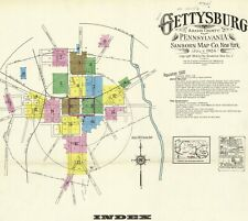 Gettysburg, Pennsylvania~Sanborn Map© 60 maps made 1886 to 1924 in color on Cd