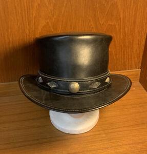 Leather Top Hat Fine Handmade by Head N Home-Santa Cruz CA. Steampunk Topper