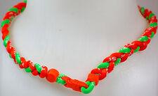 "NEW! 20"" Custom Clasp Braided Sports Orange Neon Green Lime Tornado Necklace"
