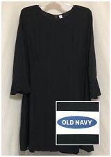 Sz XXL NWT OLD NAVY Women's Long Flute Sleeve Black Rayon Fit & Flare Dress 2XL