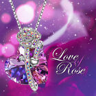 Womens Silver purple Crystal Sweet Heart Pendant Necklace Chain 18