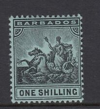 BARBADOS-1910 1/- Black/Green Sg 169 LIGHTLY MOUNTED MINT