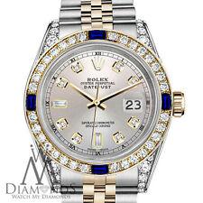Rolex Ss & Oro 36mm Datejust Reloj Plata Esfera con Zafiro & Diamante Engaste