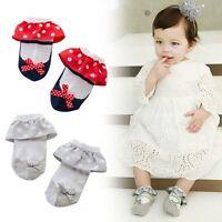 Toddler Bébé Anti-Slip Dots Bowknot Princess Lace Chaussettes en coton doux