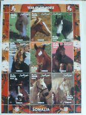 YEAR OF THE HORSE ANIMAL SOMALIA 2002 MNH STAMP SHEETLET