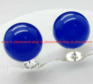 Natural 10mm Blue Sapphire Round Gemstone 925 Silver Stud Earrings AAA